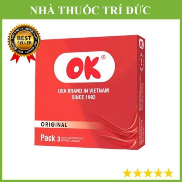 Bao cao su Ok đỏ Deluxe ( 1 hộp/3 cái )