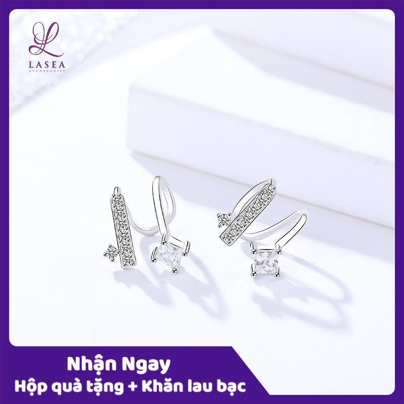 Bông tai nữ trang sức bạc Ý S925 Lasea - Hoa tai đính đá zircon E265E