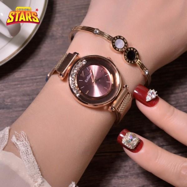 Nơi bán Đồng hồ nữ chống nước sang trọng dây thiếc giá rẻ đẹp cá tính hạt đá di chuyển [Tặng kèm hộp] Honey Start 492373