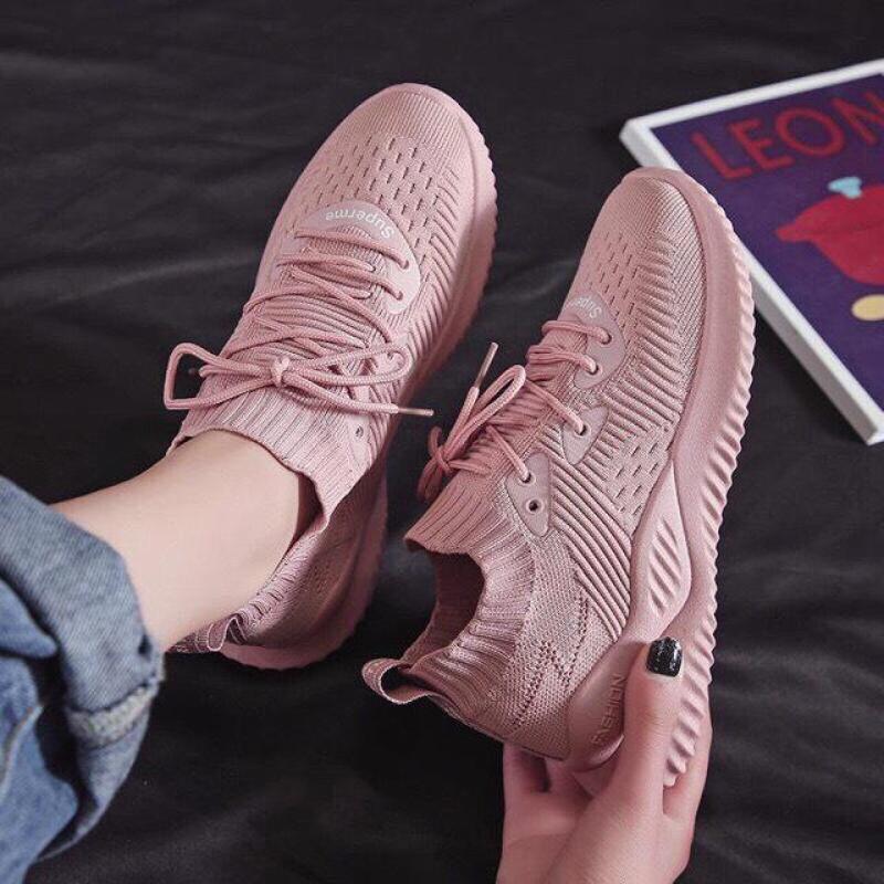 (Video Thật) giầy thể thao, giầy sneaker nữ thời trang cổ chun siêu mềm Hồng đẹp