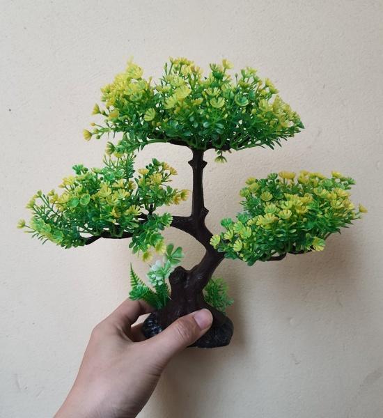 Cây nhựa trang trí bể cá: mẫu bonsai 3 tán màu ngẫu nhiên