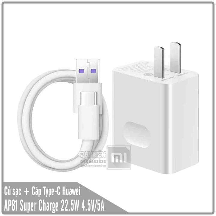 Bộ sạc HUAWEI Super Charge AP81 (HW-050450C00) Củ sạc + Cáp USB Type-C 22.5W