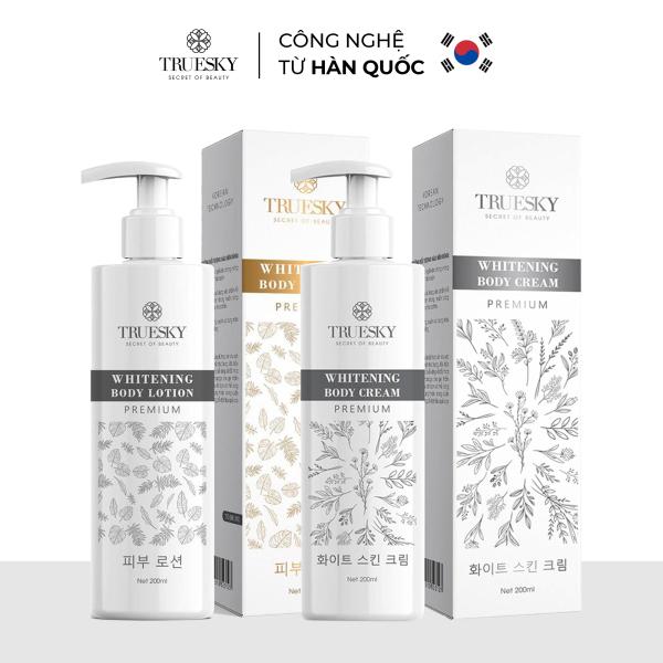 Bộ trắng da toàn thân Truesky Premium gồm 1 kem ủ trắng da toàn thân 200ml & 1 kem dưỡng trắng da toàn thân 200ml