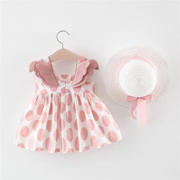 Giá bán Bộ váy đầm đôi cánh thiên thần tặng nón xinh xắn dễ thương cho bé v17 (từ 5-16Kg)