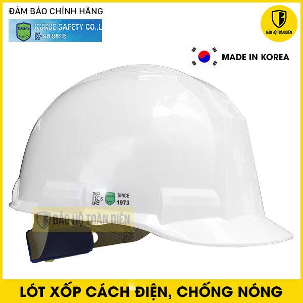 Mũ bảo hộ Kukje màu trắng có lót xốp chống nóng, cách điện và Núm vặn điều chỉnh - Loại mặt vuông