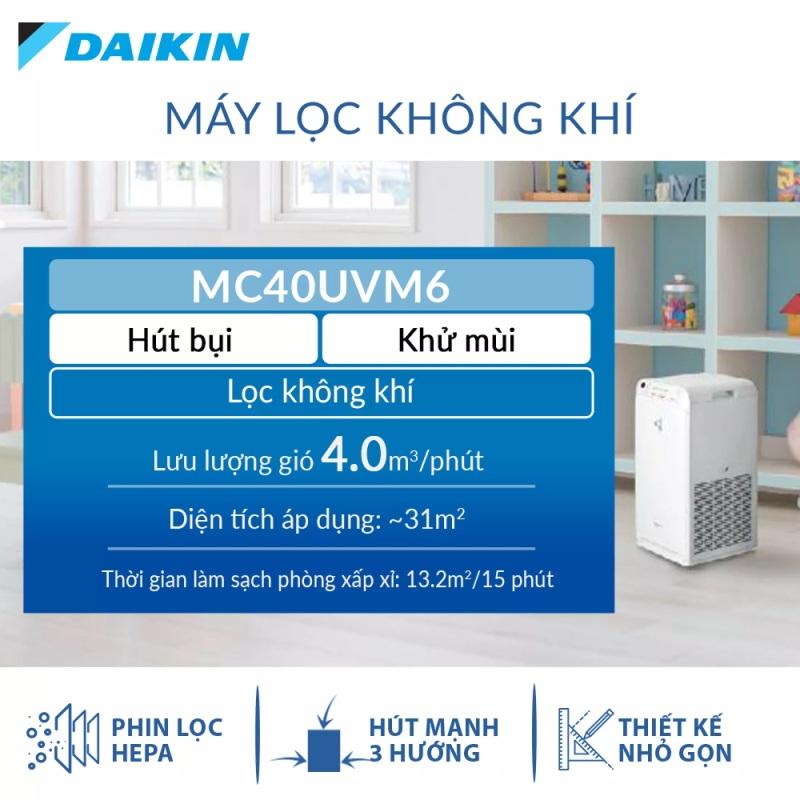 Máy Lọc không khí Daikin MC40UVM6 - Phù hợp phòng 31m2 - Công nghệ Streamer độc quyền - Phin lọc tĩnh điện Hepa - Hút gió 3 hướng - Vận hành êm ái - Thiết kế nhỏ gọn - Hàng chính hãng
