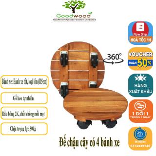 Combo 2 Đế để chậu cây có bánh xe - Kệ giá đỡ chậu hoa cây cảnh đa năng gỗ keo tự nhiên siêu bền Đường Kính 30cm- 80kg thumbnail