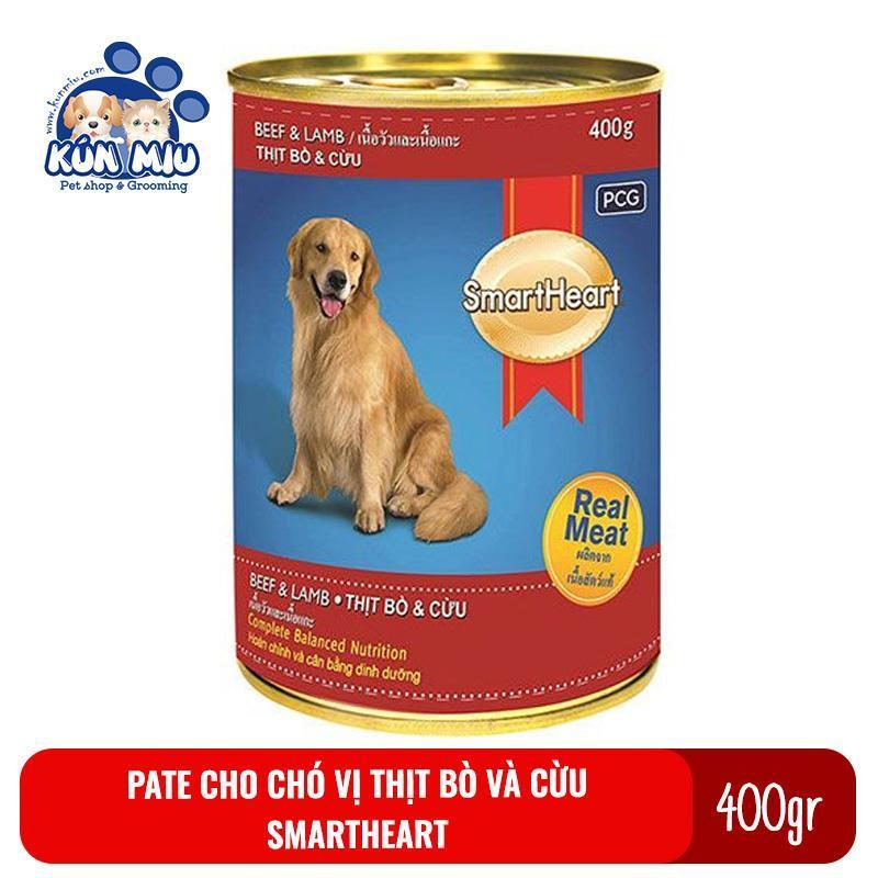 Thức ăn Pate cho chó Smartheart lon 400gr vị bò và cừu - Thức ăn ướt đóng hộp cho chó Smart heart