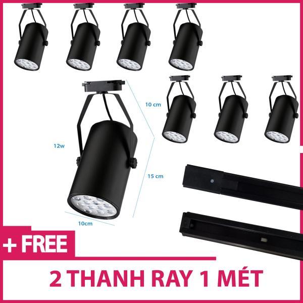 Bộ 8 đèn led rọi thanh ray 12w vỏ đen ánh sáng trắng /vàng và 2 thanh ray 1 mét đen