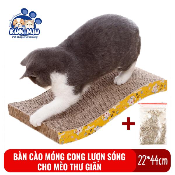 Bàn Cào Móng Cho Mèo Bằng Bìa Cong Lượn Sóng Kún Miu Tặng Kèm Catnip Giúp Mèo Thư Giãn