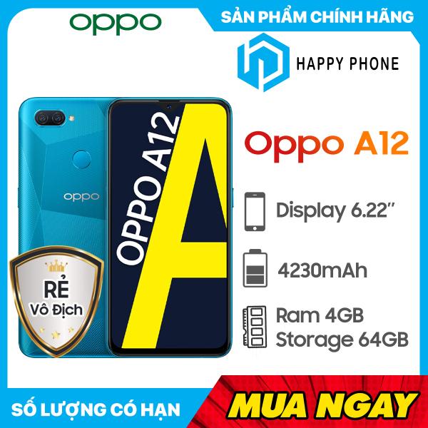 Điện thoại OPPO A12 RAM 4GB ROM 64GB - Hàng chính hãng, mới 100%, Nguyên seal, Bảo hành 12 tháng