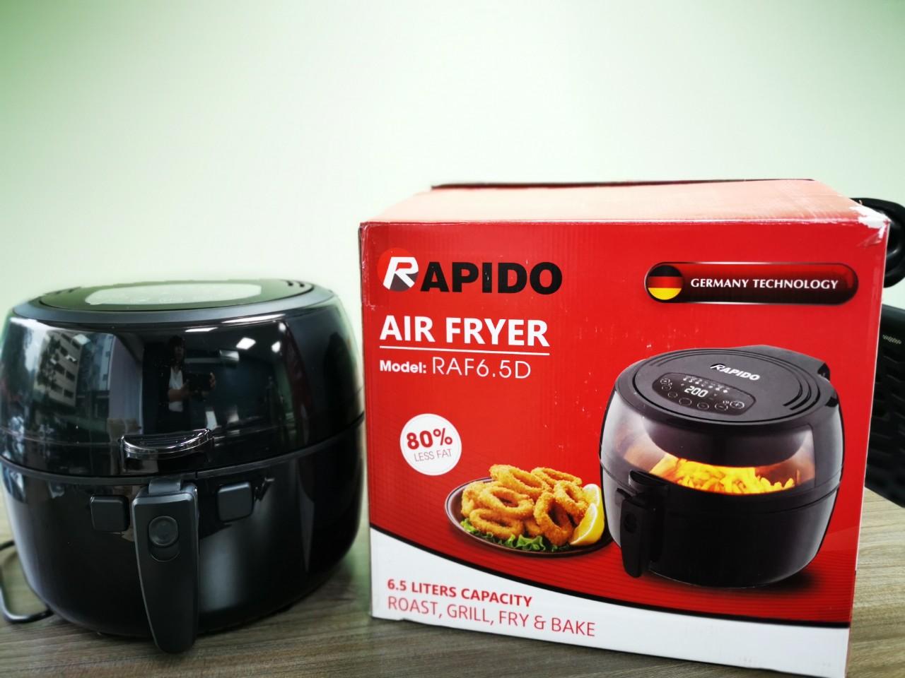 Nồi chiên không dầu Rapido RAF6.5D (Điều khiển điện tử) Tặng khay làm bánh  và chổi quét dầu | Lazada.vn