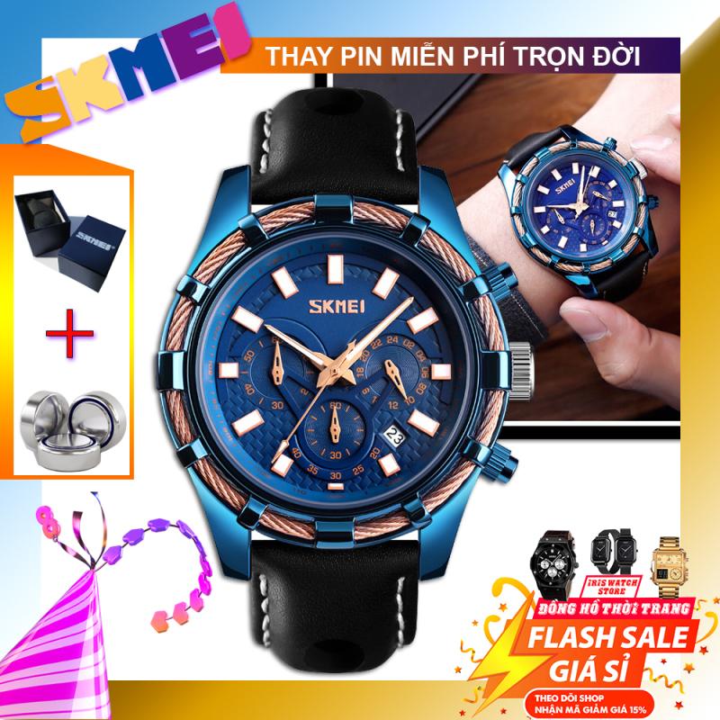 [BH 1 NĂM] [THEO DÕI SHOP NHẬN VOUCHER 15K] Đồng hồ nam dây da THỂ THAO SKMEI 9189 new 2020 (TẶNG HỘP VÀ PIN)