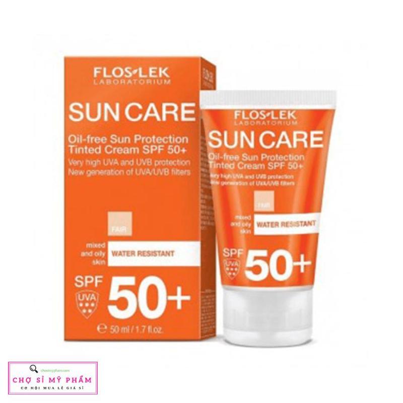 Kem chống nắng bảo vệ da nhờn mụn Floslek Oil Free Sun Protection Tinted Cream SPF 50+ 50ml nhập khẩu
