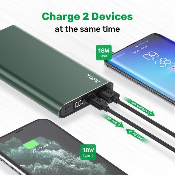 Sạc Dự Phòng TOPK I1006P 10000mAh Sạc nhanh 18W Hiển thị kỹ thuật số Pin dự phòng cho iPhone HUAWEI Samsung Xiaomi OPPO Vivo Realme Bảo hành chính hãng 12 tháng 1 đổi 1