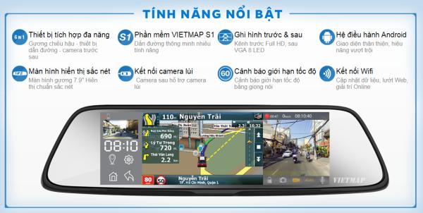 [HCM]Camera hành trình VIETMAP G79 dạng gương ghi hình 2 mắt trước sau dẫn đường cảnh báo giao thông được lắp đặt trực tiếp lên gương chiếu hậu của xe. Thiết bị vừa đảm bảo các chức năng của một công cụ hỗ trợ lái xe