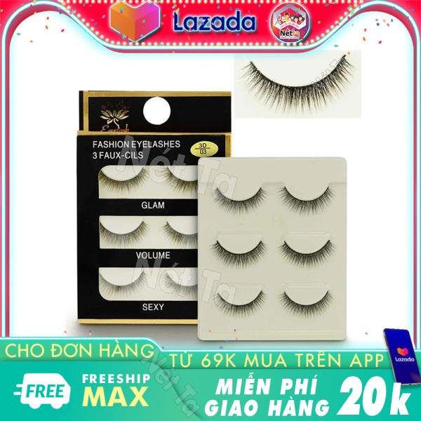 Lông mi giả 3D lông chồn tự nhiên Fashion Eyelashes 3 Faux-Cils - hộp 3 cặp mi tự nhiên giá rẻ