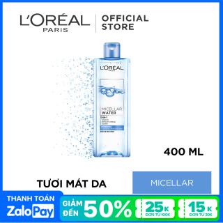 Nước tẩy trang tươi mát L Oreal Paris Micellar Water 400ml (xanh dương nhạt) thumbnail