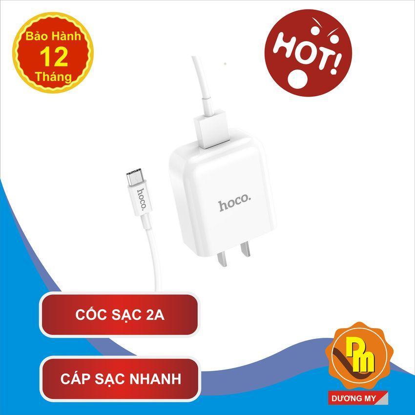 Bộ Sạc Hoco Cho Điện Thoại Cổng Micro USB (SamSung, Oppo, LG, Vivo, Xiaomi, Nolia, Huawei, v.v. Cốc sạc 2A, Cáp sạc nhanh 1,2M)