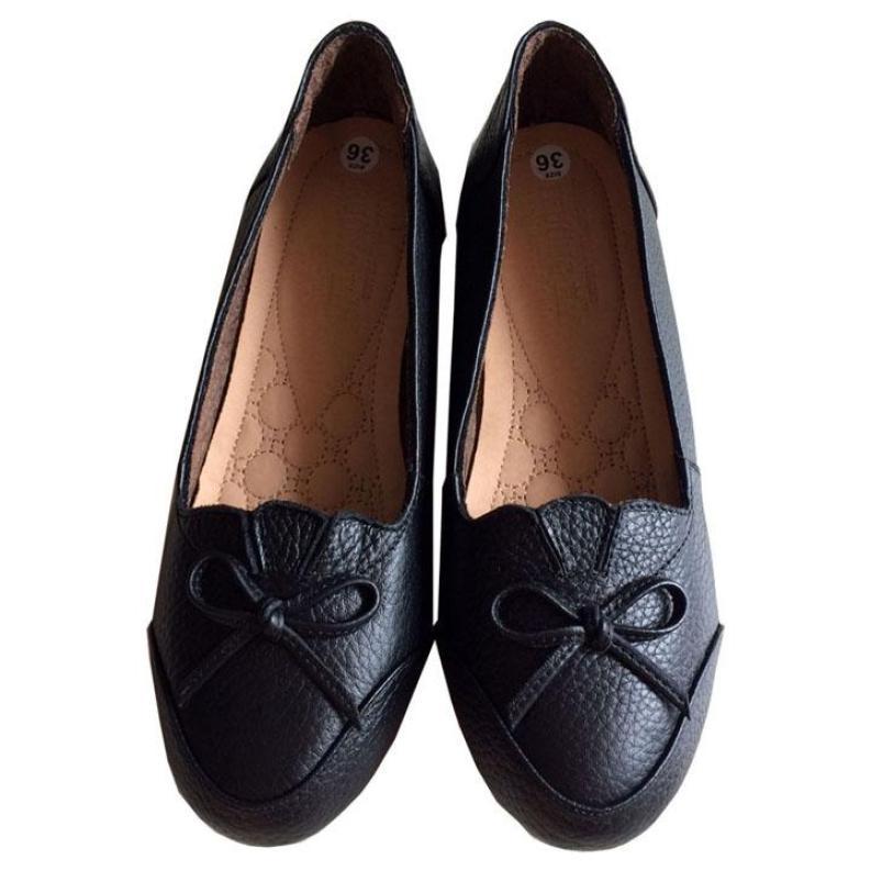 Giày búp bê Trường Hải đen da bò thật  mềm mại đế cao su BB01 giá rẻ