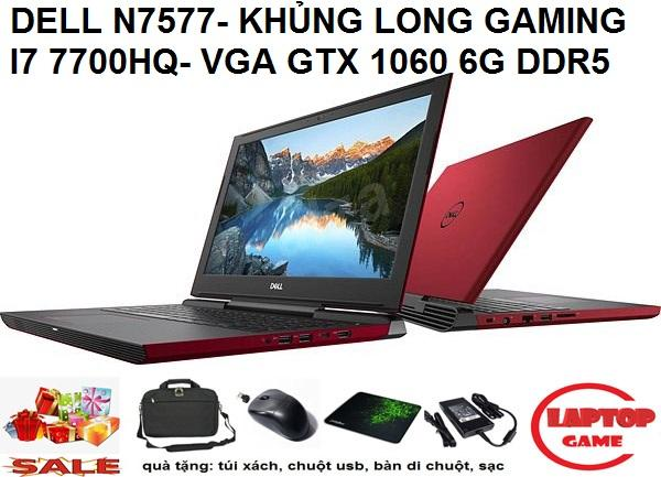 QUÁI VẬT GAMING Dell Inspiron N7577 Core i7-7700HQ |GTX1060 6GB | 8GB RAM | 128GB SSD + 1TB HDD | GTX1060 6G + HD Graphics 630 | 15.6 FHD IPS | WIN 10 | Black, Red
