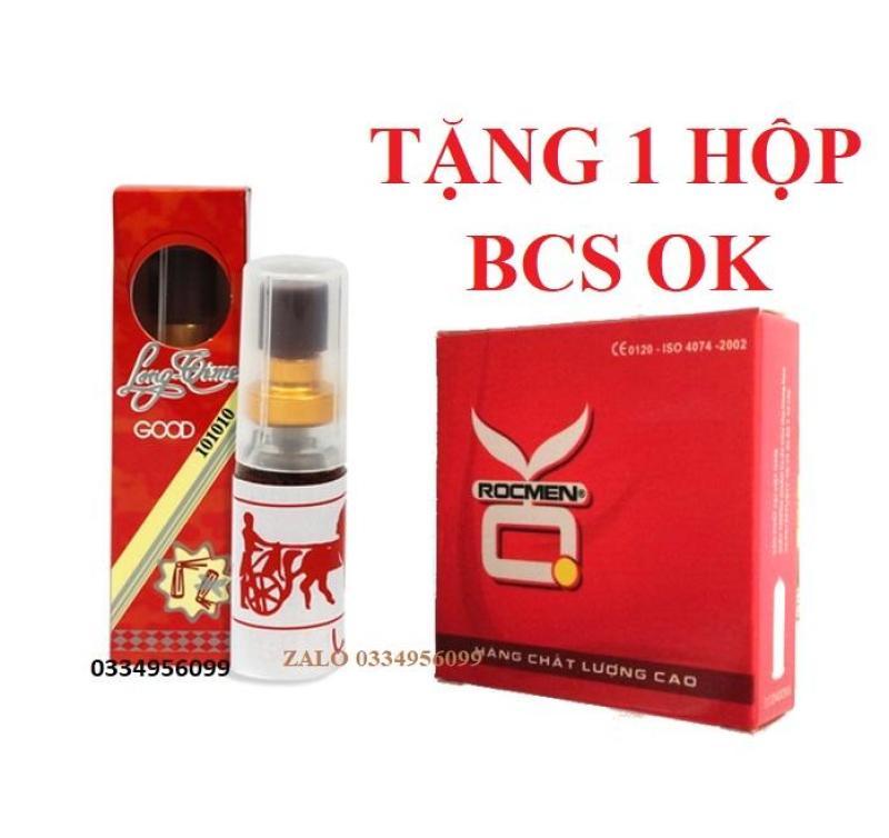 Combo 1 Chai xịt longtime đỏ kéo dài thời gian tặng 1 hộp BCS OK 3 chiếc nhập khẩu