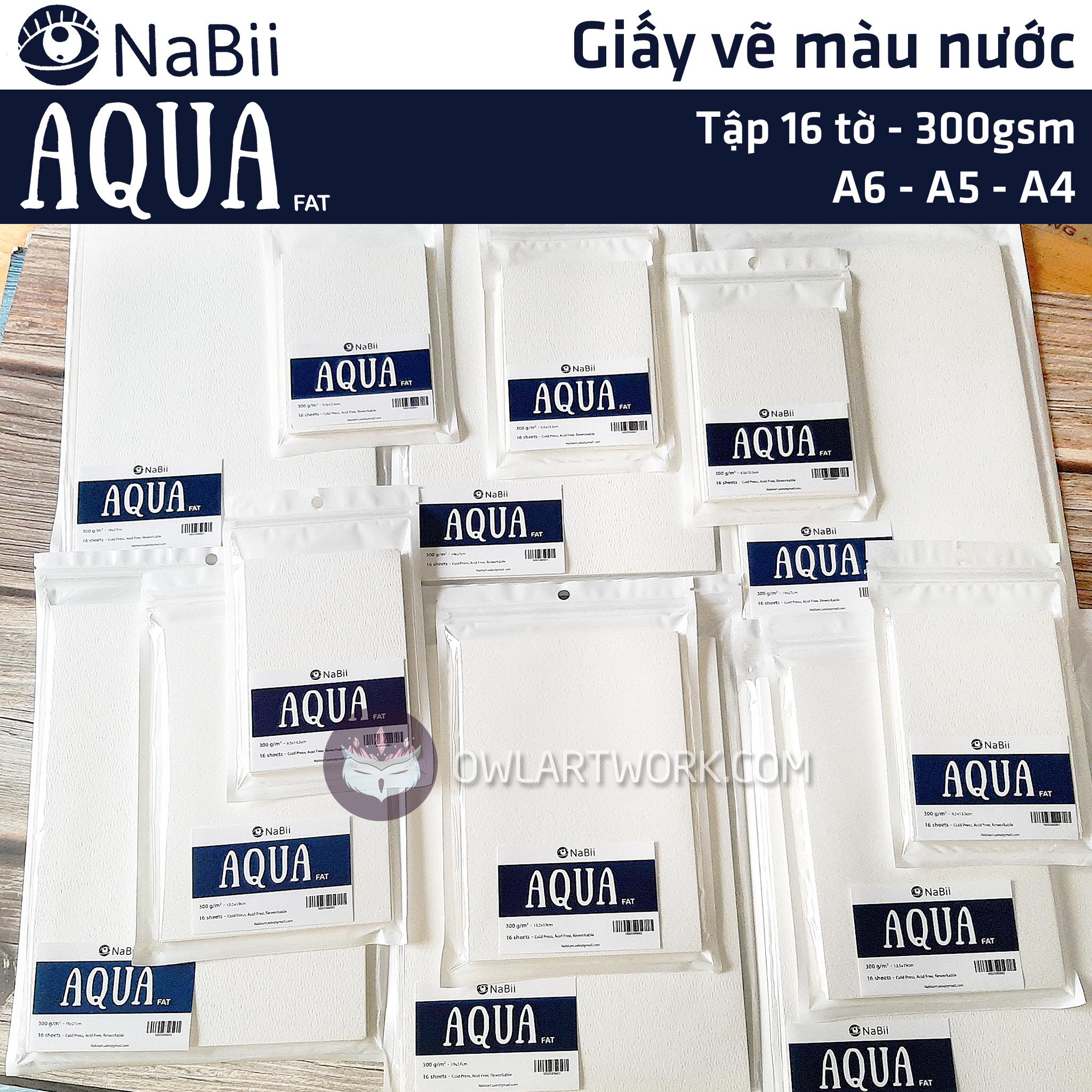[HCM]Giấy Nabii Aqua Fat vẽ màu nước 300 gsm 16 tờ - Tập lẻ - Thương Hiệu Uy Tín - Họa cụ Cú Tuyết