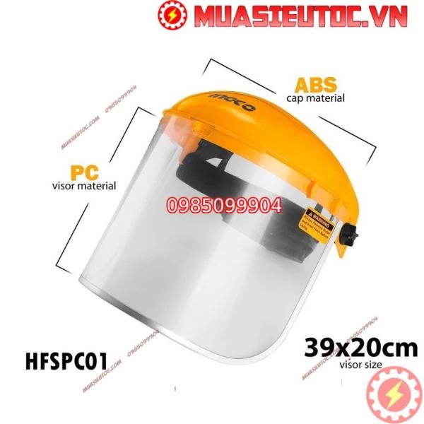 Mặt Nạ Kính Bảo Hộ Tiêu Chuẩn EU INGCO HFSPC01 face shield tấm chắn giọt bắn chống dịch nhựa dẻo thiết bị bảo hộ an toàn lao động công trình xây dựng, phun xịt sơn, thợ máy, bảo vệ đầu, mắt, tai