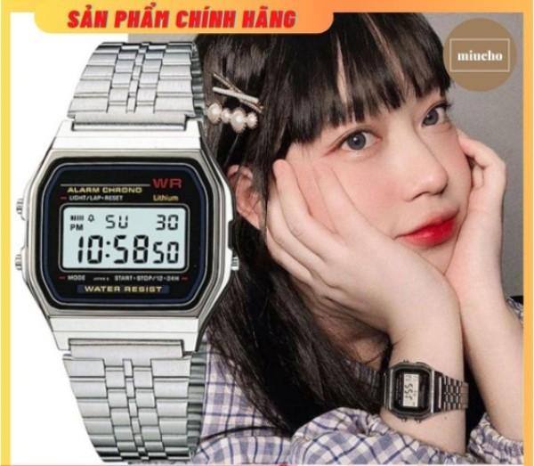 Nơi bán [Lấy mã giảm thêm 30%]Đồng hồ điện tử A159 nam nữ unisex dây thép không gỉ chống nước DH03 Miucho