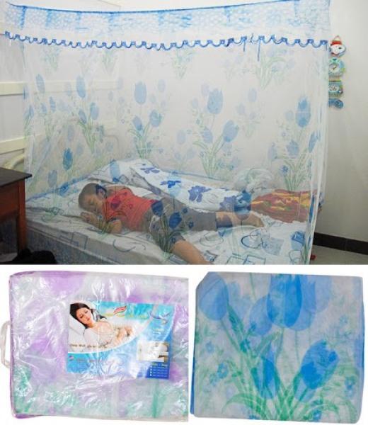 Mùng-màn tuyn hoa xanh 2mx3m Không Cửa Màn hà nội chân cao 2M (Bảo hành 1 đổi 1)