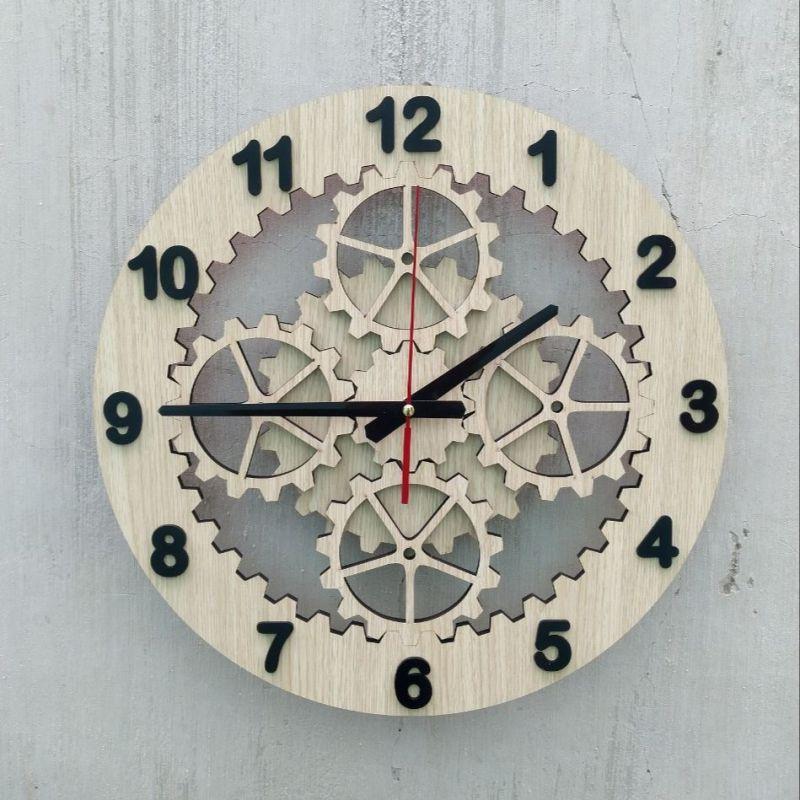 Đồng hồ treo tường nghệ thuật, đồng hồ bánh răng  cắt lazer.