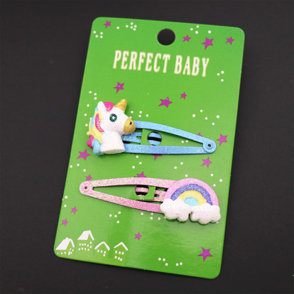 Giá bán Set 2 kẹp tóc công chúa unicorn đính kim tuyến lấp lánh (2pcs) – P104