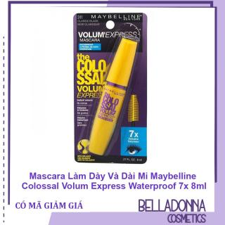 [HCM]Mascara Làm Dày Và Dài Mi Maybelline Colossal Volum Express Waterproof 7x 8ml thumbnail