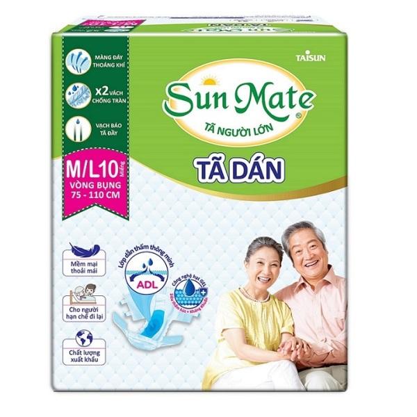 Tã dán Sunmate size M /L10 - tã dán người lớn vòng bụng 75-105cm