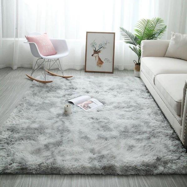 Thảm trải sàn phòng ngủ lông xù vằn màu Xám nhạt 160x200cm - Dự kiến giao 24/6