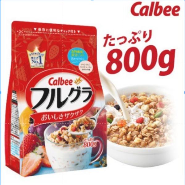 Ngũ cốc trái cây Calbee truyền thống - gói đỏ 800g - nhập khẩu Nhật Bản