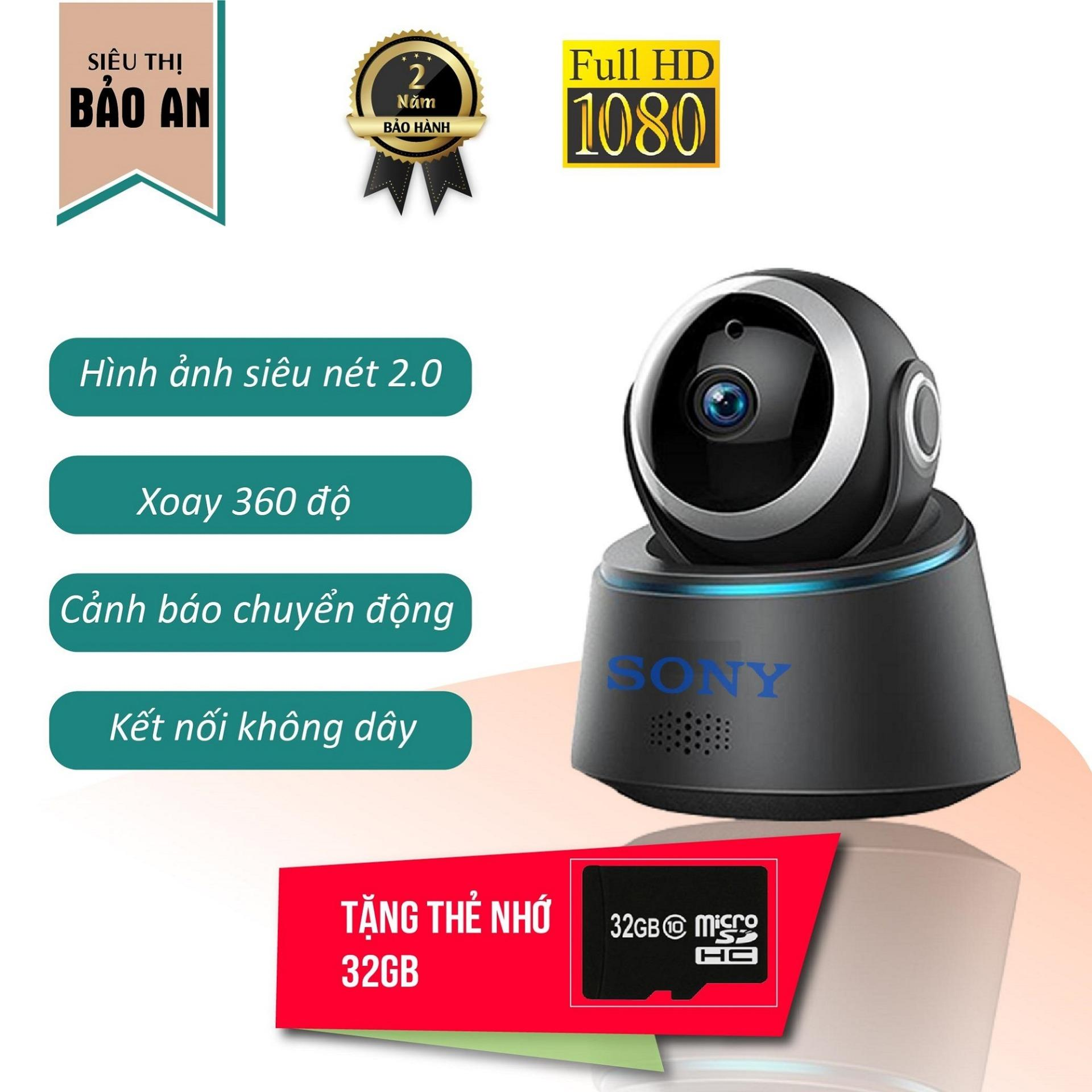 Voucher Giảm Giá [Có Video] Camera Wifi Sony Full HD 1080 - 2.0 MP Hình ảnh Sắc Nét Ngày đêm, Xoay 360 Linh Hoạt, Cảnh Báo Chống Trộm, đàm Thoại Ghi âm Hai Chiều + Thẻ Nhớ Micro 32 GB Mini - Bảo Hành 5 Năm