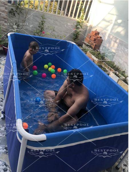 Bể bơi mini khung kim loại cho bé Bestpool  1.2m x 2m x 0.8m