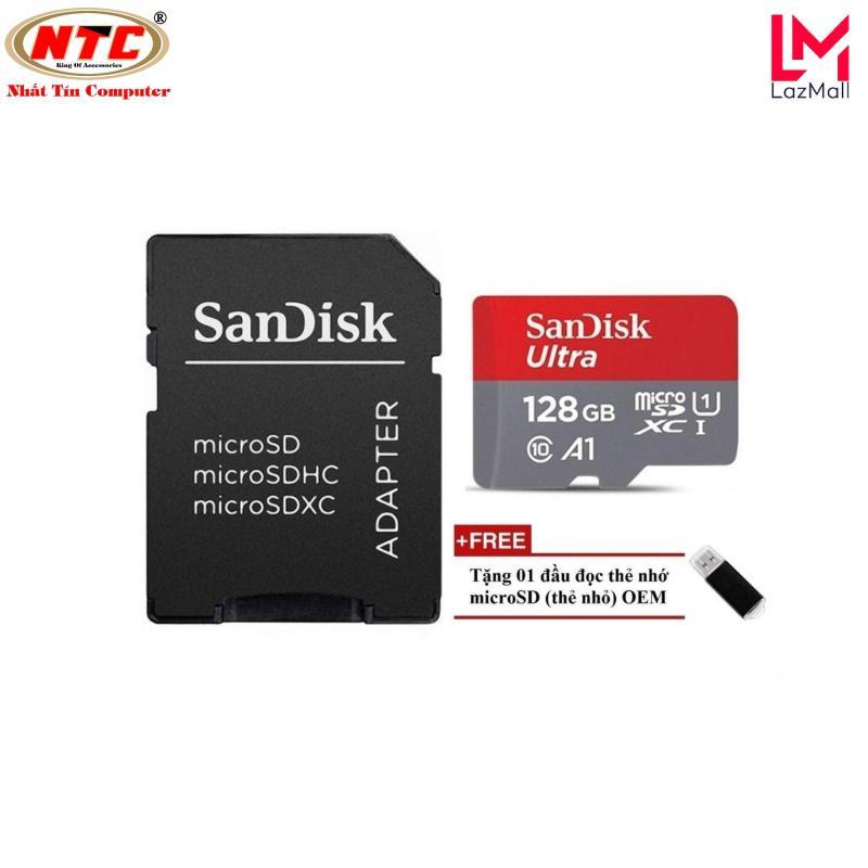 Thẻ nhớ MicroSDXC SanDisk Ultra A1 128GB Class 10 U1 100MB/s kèm adapter (Đỏ) + Tặng 1 đầu đọc thẻ