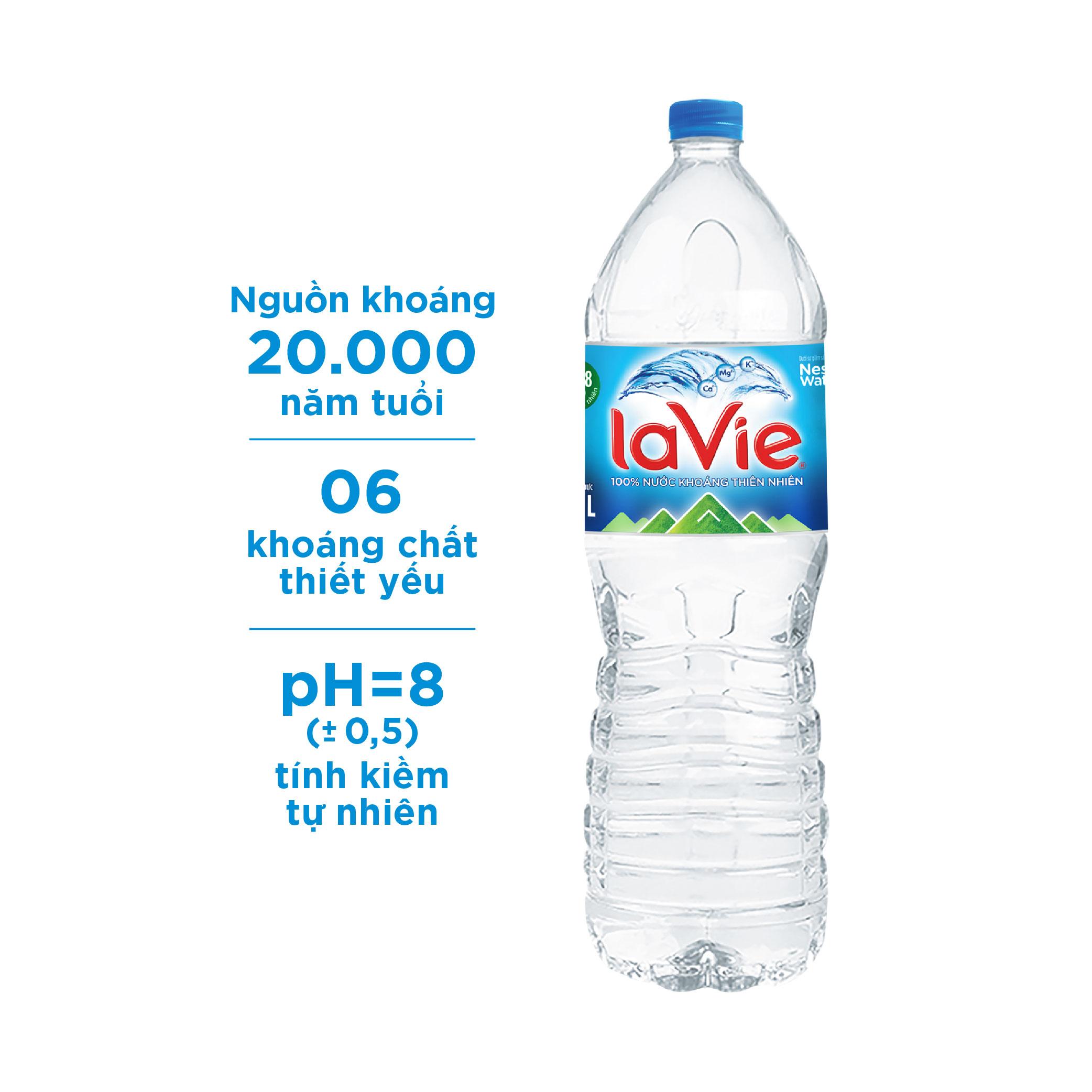 Nước khoáng thiên nhiên La Vie chai 1.5L (Thùng 12 chai)