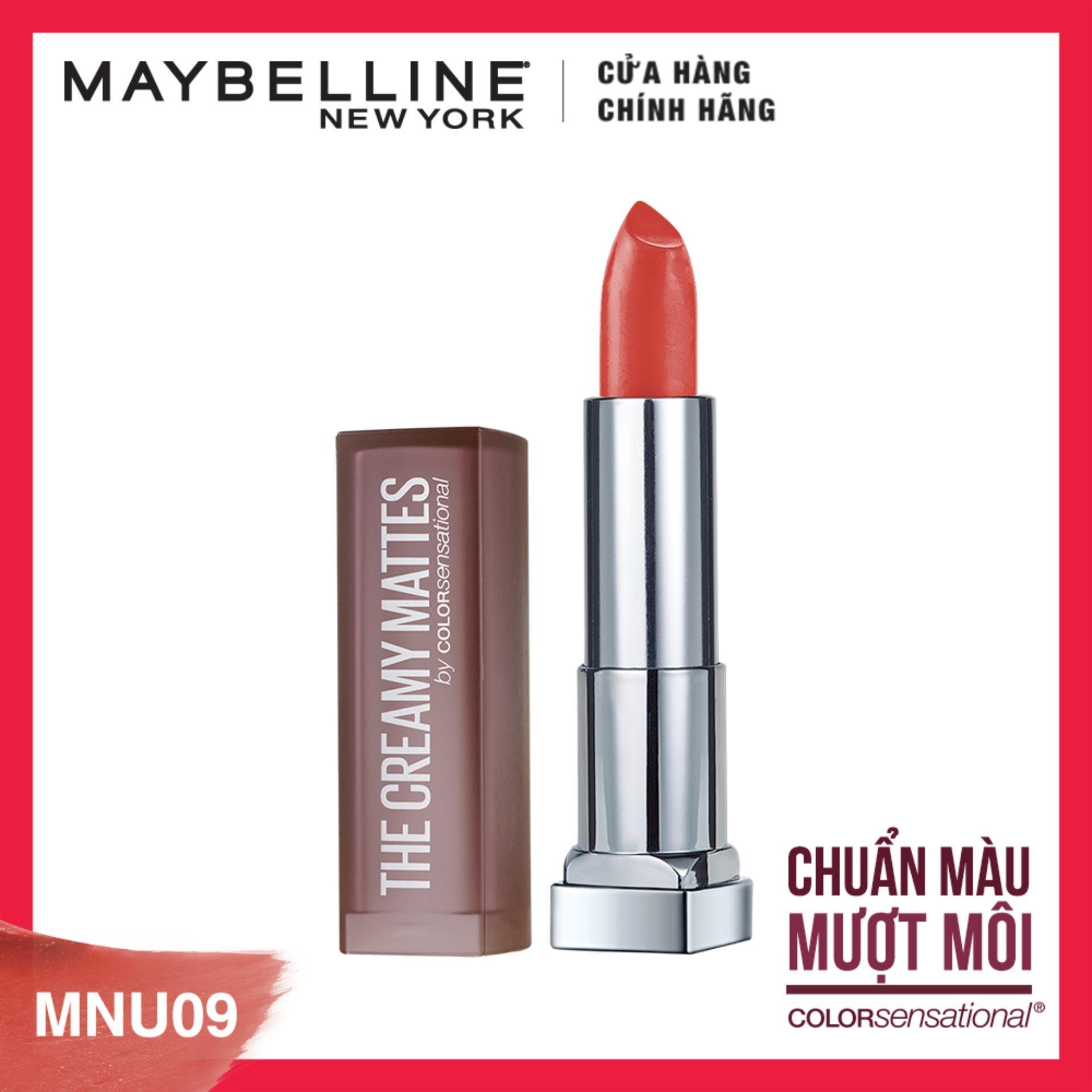 Son lì nịnh môi Maybelline New York Creamy Matte - Nude 09: Chili Nude nhập khẩu
