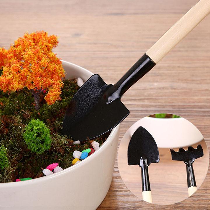 Bộ cuốc xẻng mini trồng cây cảnh dụng cụ làm vườn dề thương 3 món VHN1639