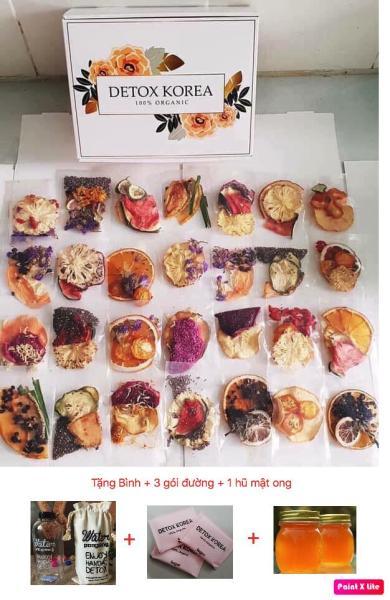 Set Vip 30 Gói Trà Detox hoa quả sấy khô giảm cân, DETOX KOREA (ảnh thật) Tặng bình Pongdang 600ml + 3 gói đường + 1 hũ mật ong