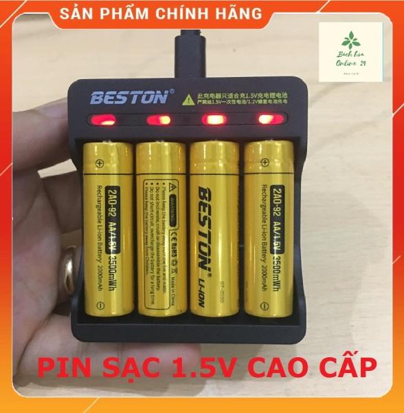 Pin sạc AA/ AAA Beston chính hãng 1.5V dung lượng cao ,  bộ sạc nhanh tự ngắt hàng cao cấp có đèn báo khi đầy