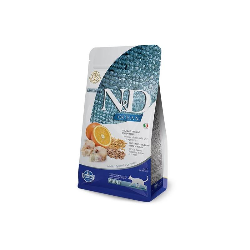 Thức ăn hạt N&D OCEAN CAT Cod, spelt, oats, orange cho mèo trưởng thành