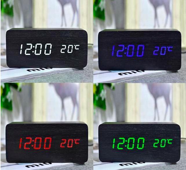 [15 MÀU] Đồng Hồ Để Bàn Trang Trí Bằng Gỗ - LED - 15 Mẫu - (Ảnh & Video Thật) Kiêm Báo Thức & Nhiệt Kế DH003 Giá Rẻ Bất Ngờ