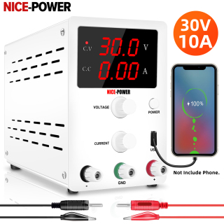 NICE-POWER Variable Adjustable 30V 10A DC Power Supply Switching Power Supply, 3 Digital Display 5V 2A USB port ,Lab cellphone repair Big Discount thumbnail