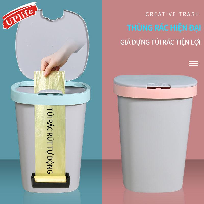 Thùng rác tự động kéo túi đựng; Thùng rác ấn mở nắp đậy cho phòng khách, phòng bếp và phòng vệ sinh
