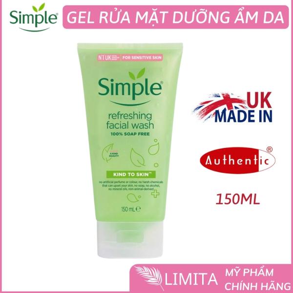 Sửa rửa mặt dạng gel simple (CHÍNH HÃNG) refreshing facial wash nhẹ nhàng lấy sạch bụi bẩn trên da, cho da cảm giác mịn màng lzd (150ml) Limita store