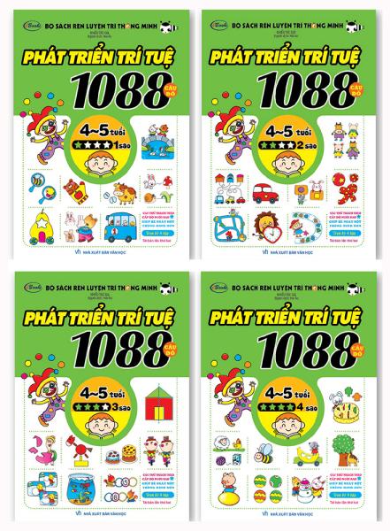 Sách - Combo 1088 Câu Đố Phát Triển Trí Tuệ từ 4 đến 5 tuổi (Trọn bộ 4 cuốn) - Tái Bản 2019
